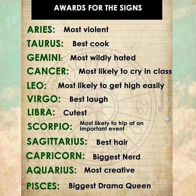 Awards for the signs #aries #aries #taurus #taurus #gemini