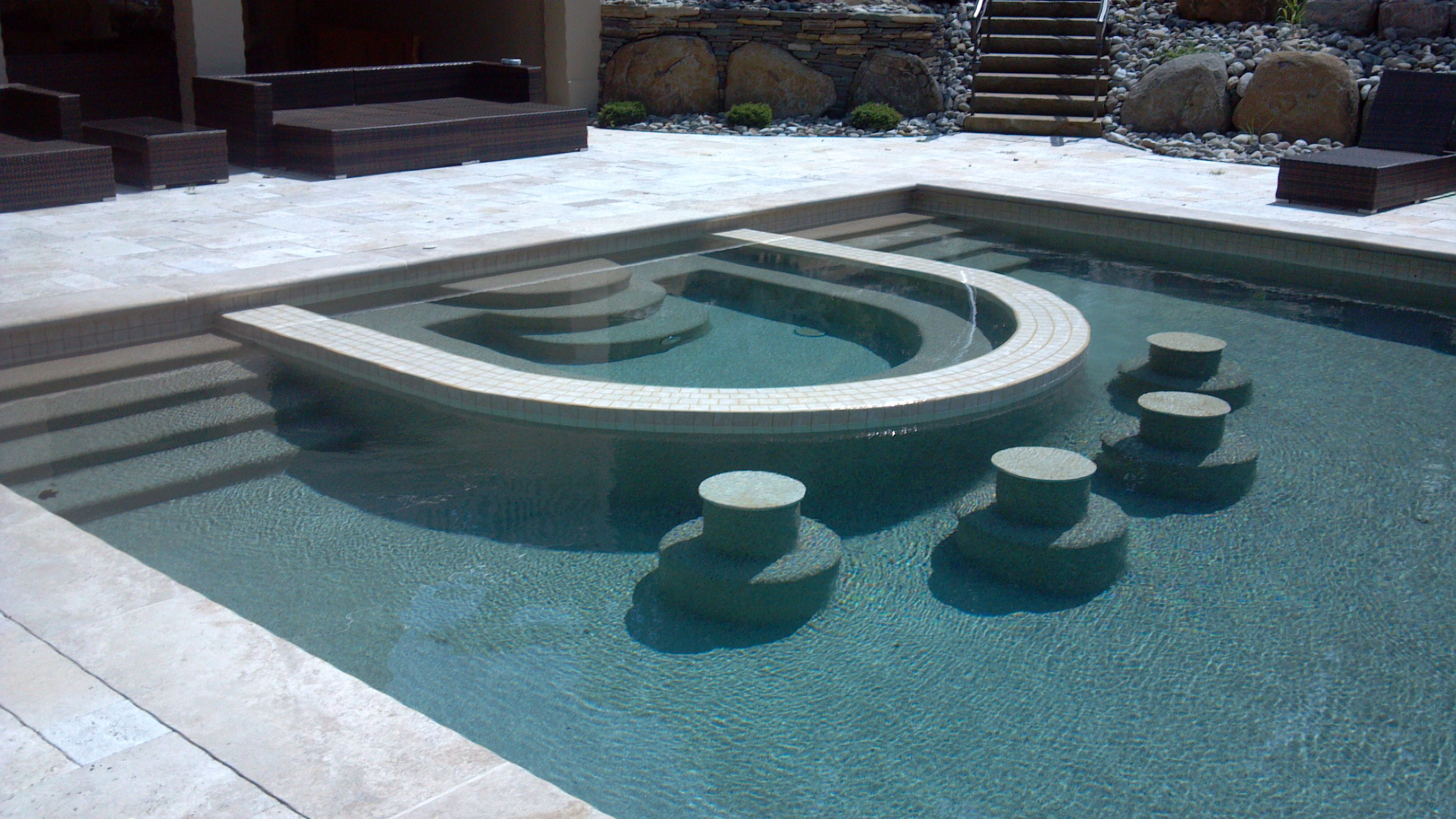 Swiming Pool Counter Stools Bar Automatic Cover Pebble Tech Finish
