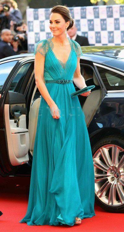 Red Carpet · Sexy V Neck Cap Sleeves Kate Middleton Jenny Packham Green  Lace Evening Dresses… 4203306800b9