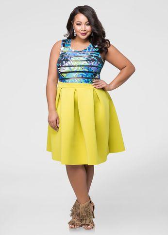 18298869277 Box Pleat Neoprene Skirt