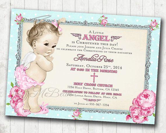 Vintage Girl Christening Invitation Baptism Invitation por jjMcBean - invitation for baptism girl