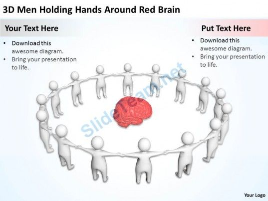 D Men Holding Hands Around Red Brain Ppt Graphics Icons