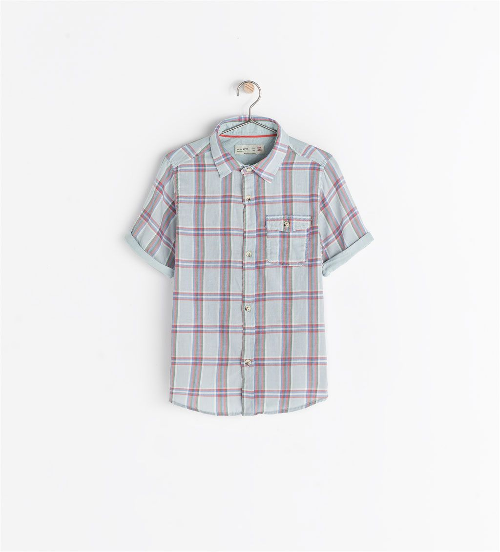 78cb86f3 Image 2 of SHORT SLEEVE CHECKED SHIRT from Zara | What to wear for ...