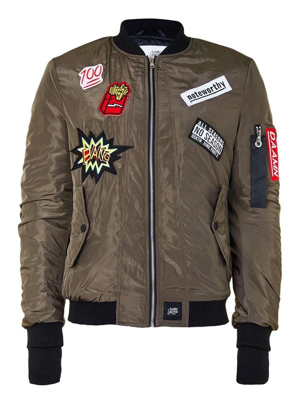 1afb1420f414 SIXTH JUNE Khaki Patch Bomber Jacket - Men s Coats   Jackets - Clothing -  TOPMAN