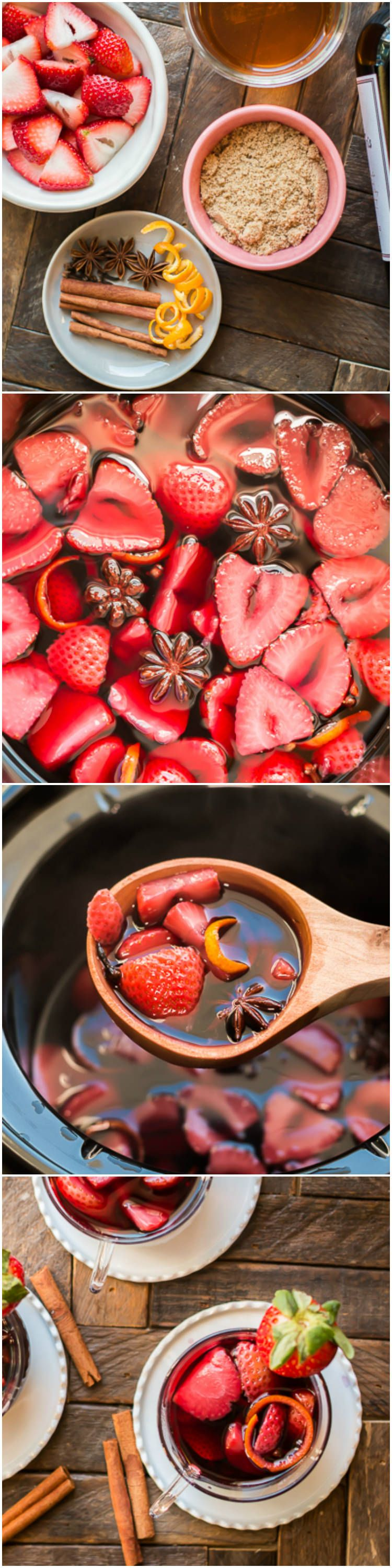 Slow Cooker Strawberry Mulled Wine The Magical Slow Cooker Recipe Recipes Spiced Wine Food