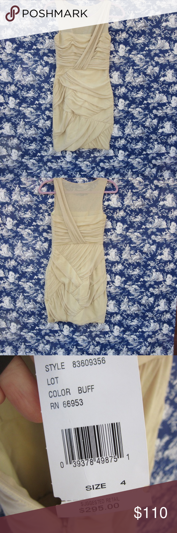 """Cynthia Steffe Bodycon Dress with Folds NWT This buff dress has never been worn. Outgrown before there was a place to wear it. Once I was only 103 lbs!!! This is made from polyester, rayon, and spandex. There is a side zipper. The tiny little stitches throughout the dress are to hold the folds in plaice. It is 32 1/2"""" hanging on a hanger. Much shorter on. The top 3 to 4"""" are sheer. Very sexy dress. Cynthia Steffe Dresses"""