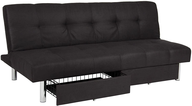 Microfiber Futon Folding Sofa Bed Couch Mattress & Storage