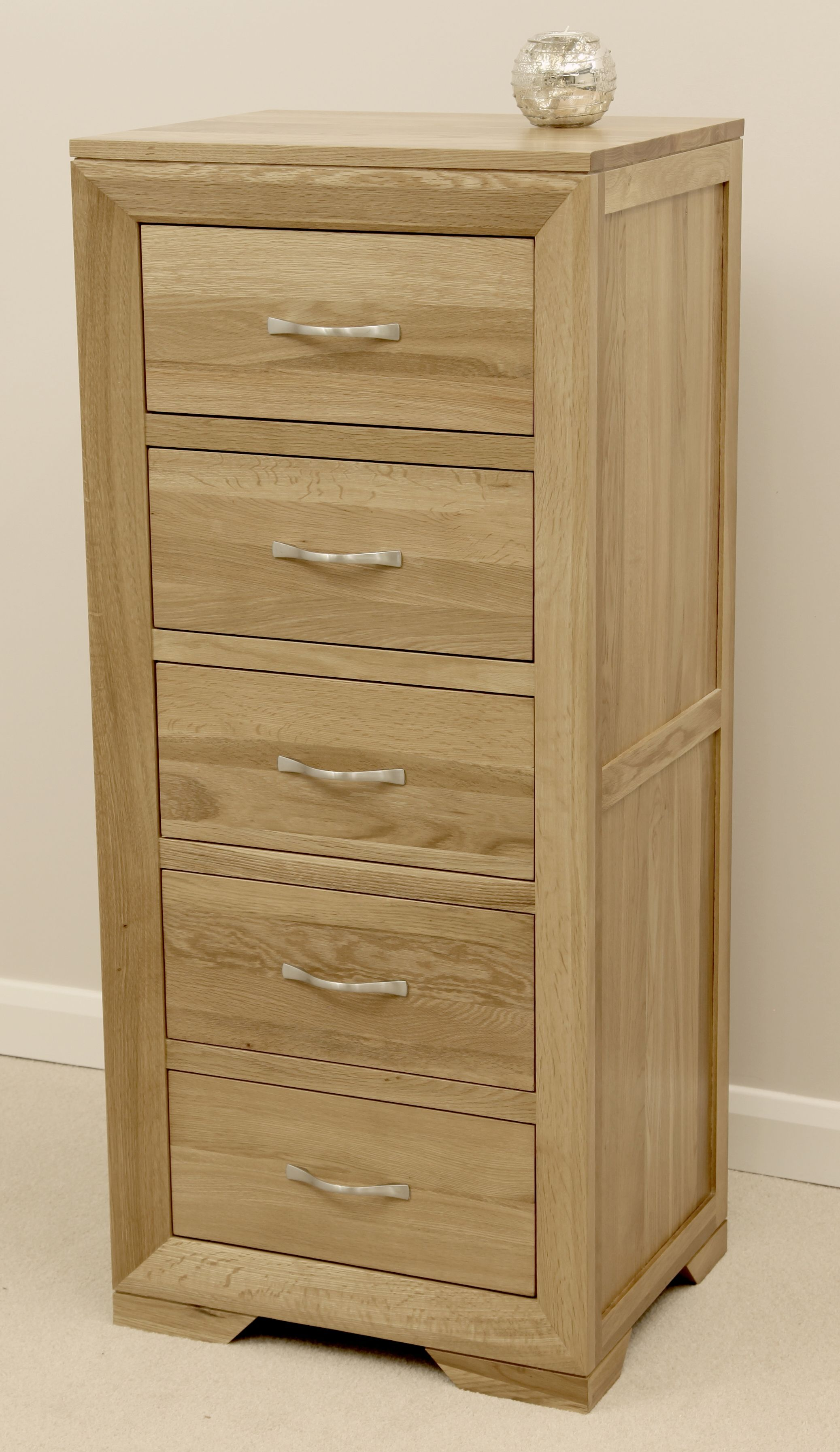 Bevel Solid Oak Range -  Tall Chest - Oak Furniture Land www.oakfurnitureland.co.uk