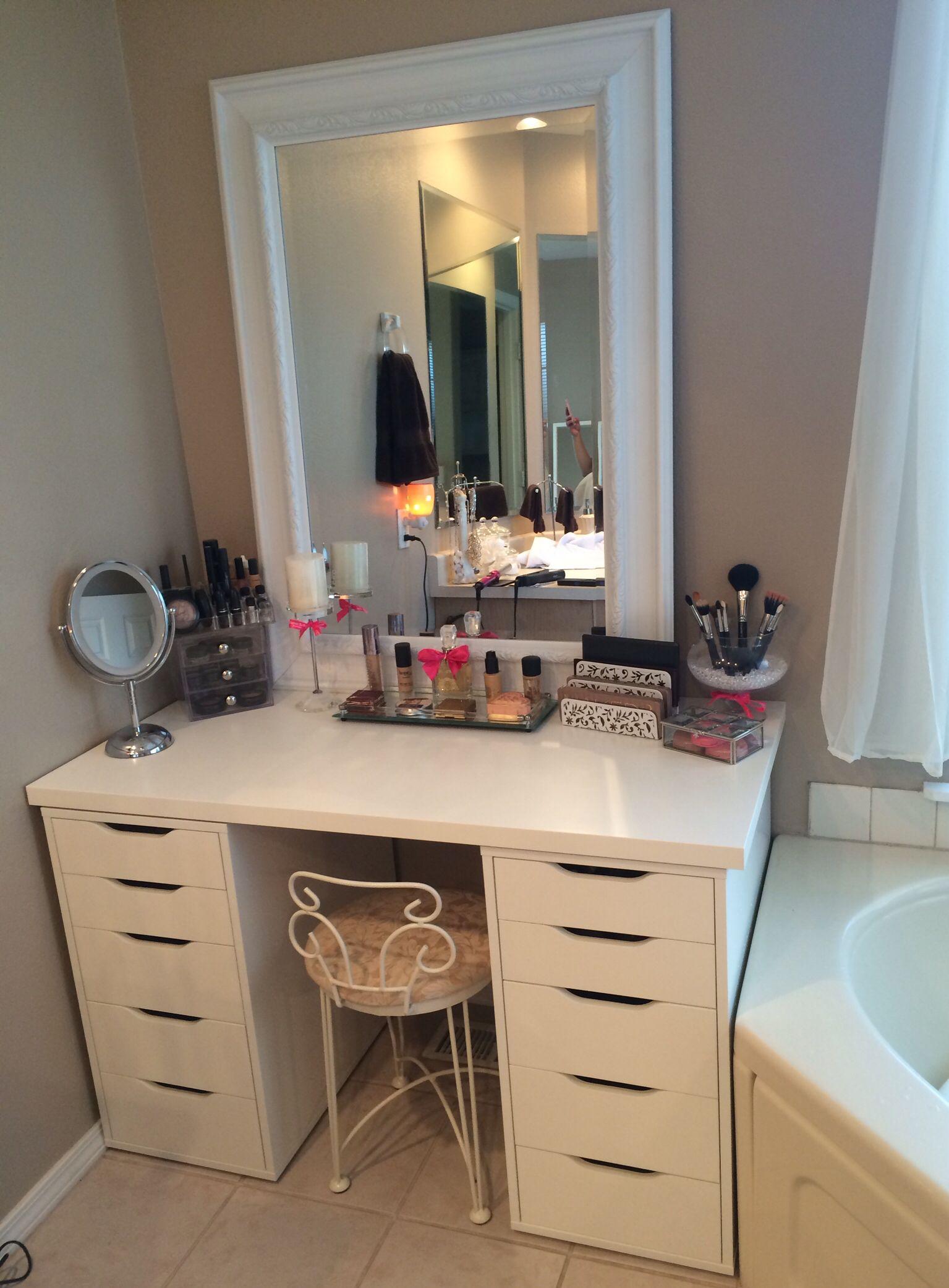 Makeup Vanity Ikea Drawers And Fred Meyer Mirror Modern Vanity
