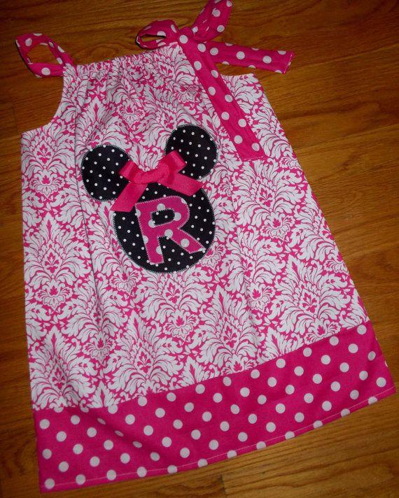 Disney Cruise Mickey Minnie Mouse Applique Pillowcase Dress Size 12M 18M 24M 2 3 4 5