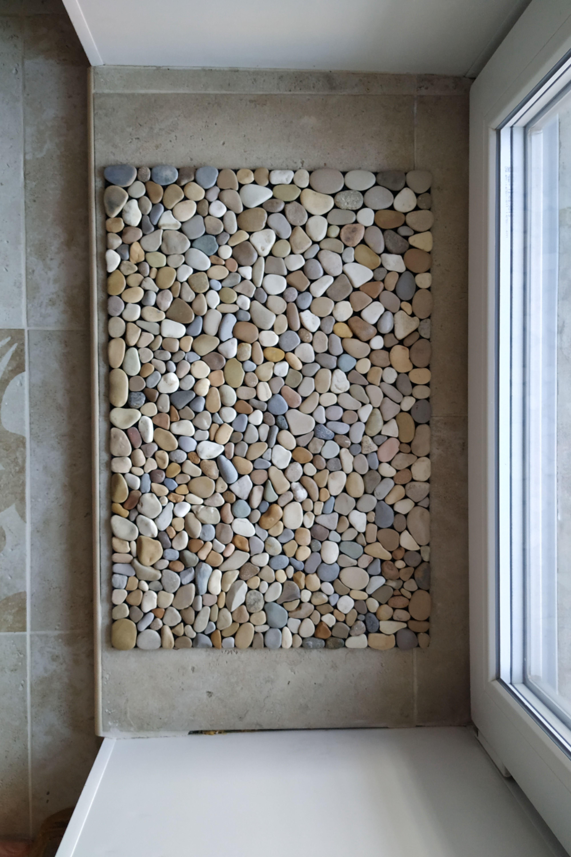 Stone rug, pebble mat, spring doormat, Flower pot