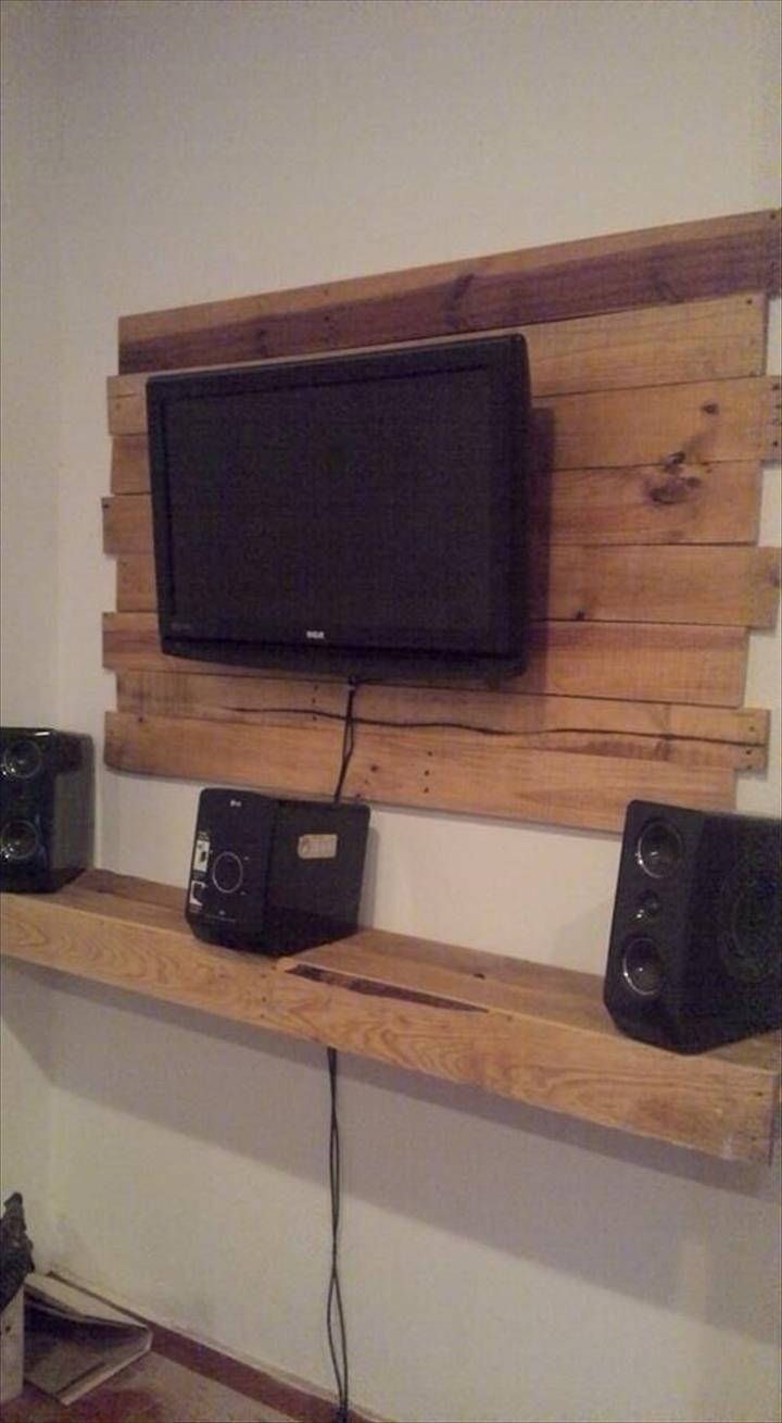 Modern Living Room Lcd Tv Stand Wooden Design Fa18b: Pallet Wall Mounted TV & Media Center