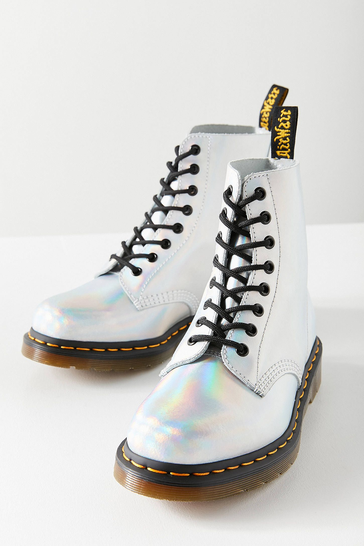 Shop Dr. Martens Pascal Iced Metallic Silver Lazer Boot at Urban Outfitters  today. We carry all the latest styles 8bb465353