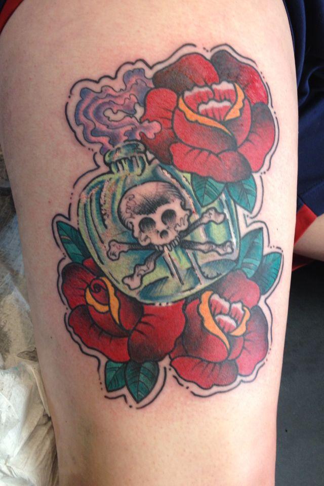 Traditional tattoo by doc cooper saint tattoo knoxville tn for Saint tattoo knoxville