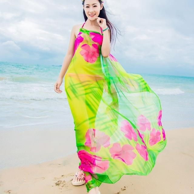 6e4976a616 Scarves Beach Cover up Pareo Hibiscus Print Chiffon Sexy Women Sarongs Swim  Bikini Cover Up Wraps