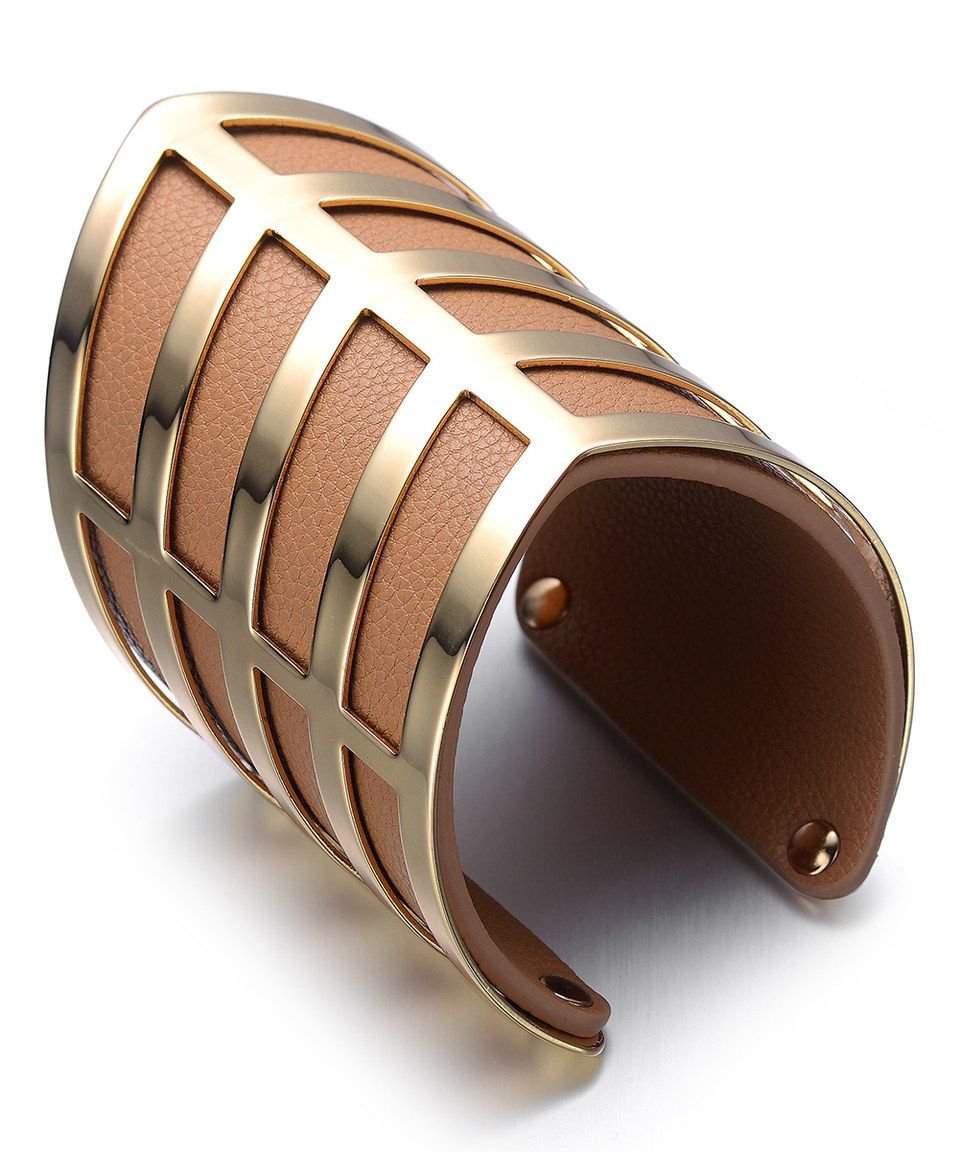 Another great find on #zulily! Orange & Goldtone Geometric Leather Cuff by Alberto Moore #zulilyfinds