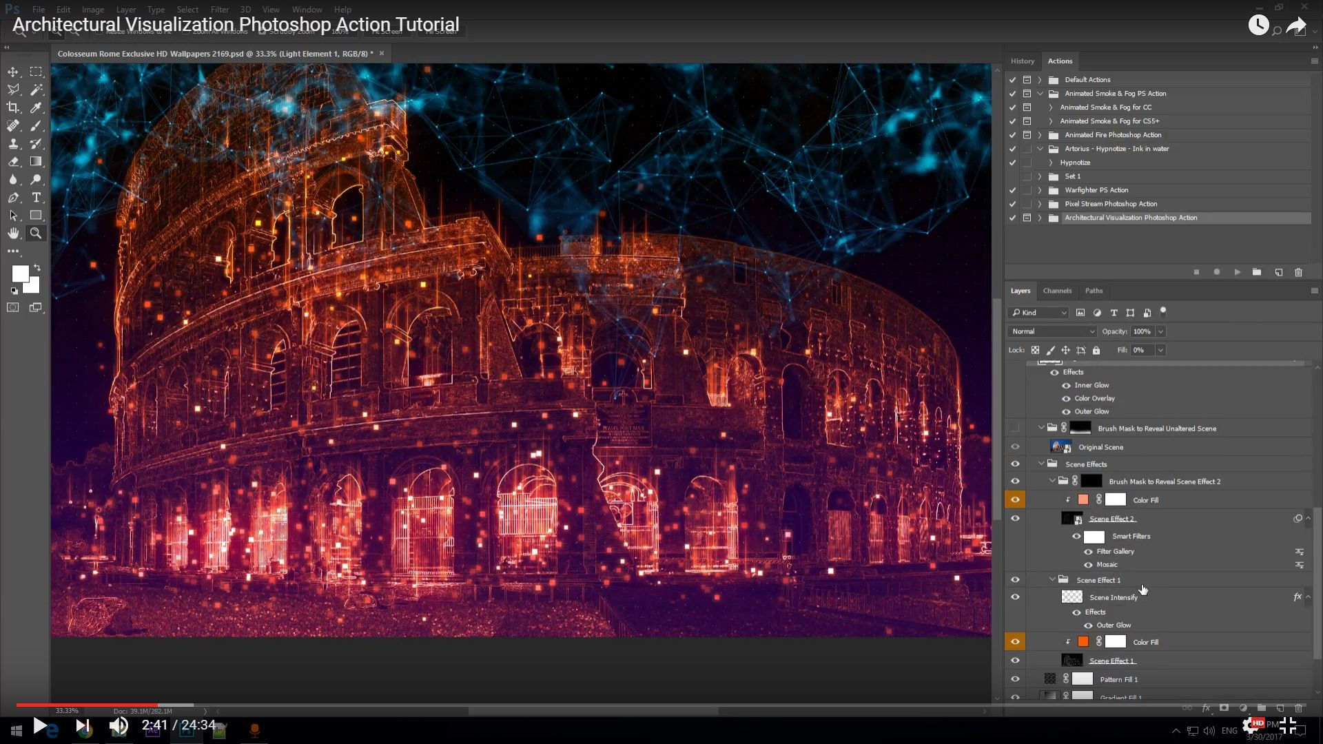 Architectural visualization photoshop action transforms your architectural visualization photoshop action transforms your images creating a hologram like blueprint effect malvernweather Image collections