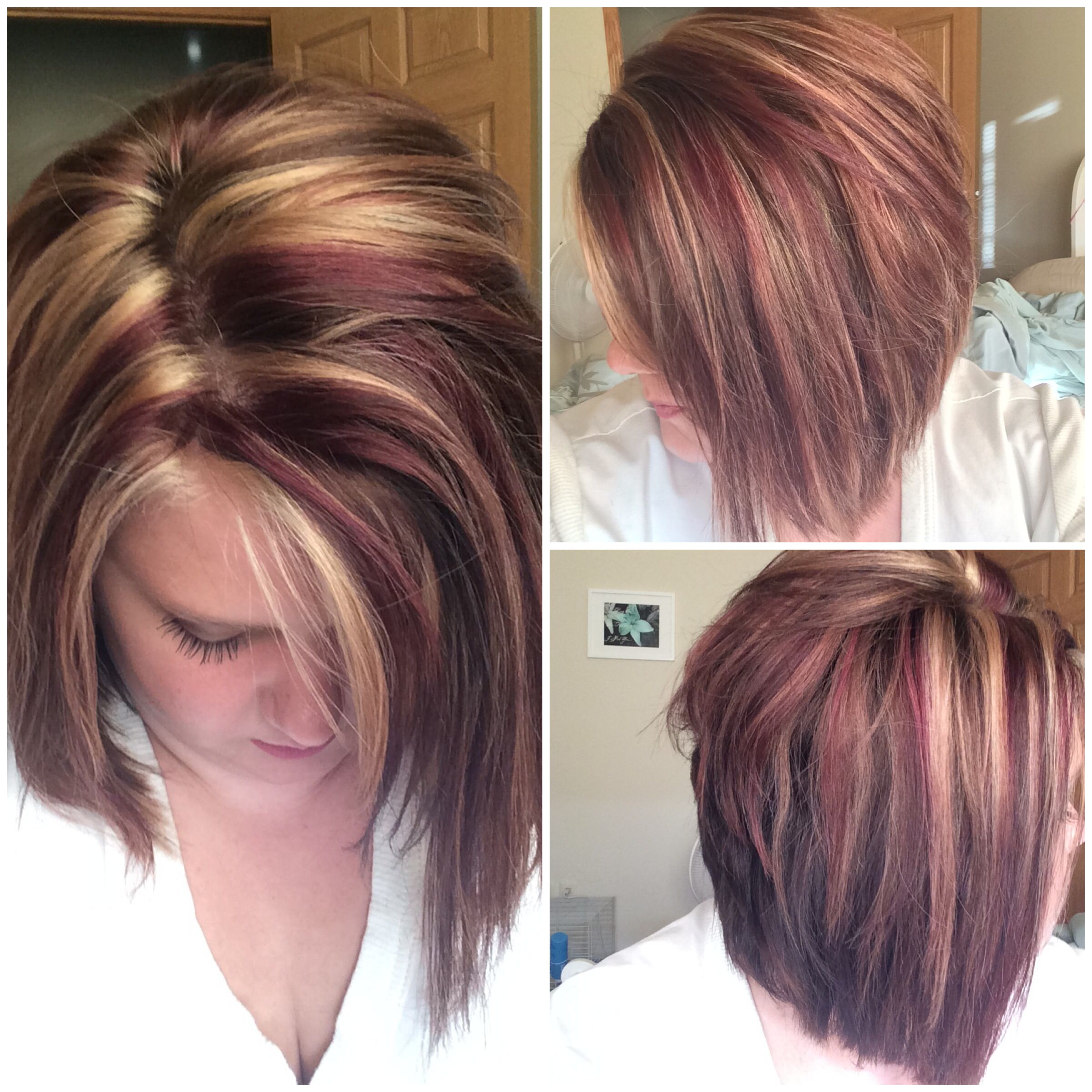 Red And Blonde Highlights On Angled Bob