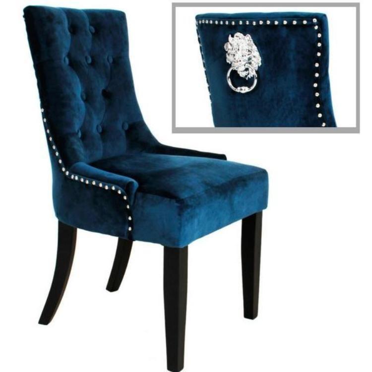 Lion Handle Knocker Dining Chair Royal Blue Velvet Allissias Attic Sillas Tapizadas Sillas Diseno De Cama