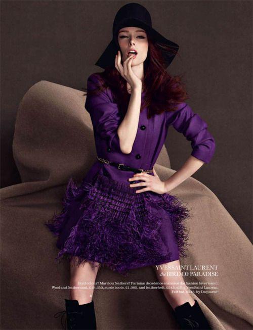 Yves Saint Laurent ... love the black hat, black boots and gorgeous deep purple dress =)