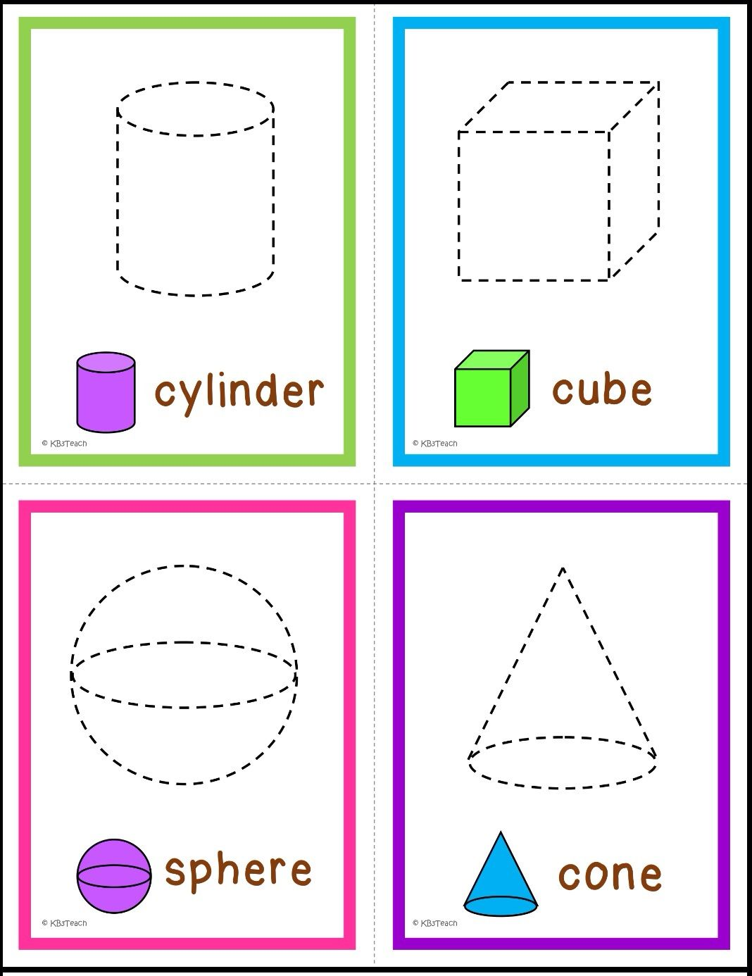 2d Amp 3d Shapes Trace Amp Name The Shapes Write Amp Wipe Cards Six Sets Of Flashcards Varying