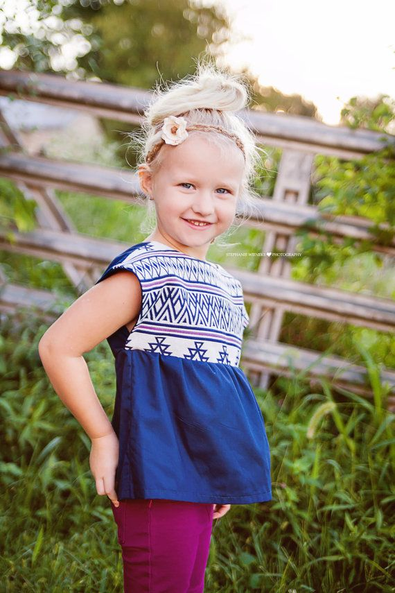 Bohemian Babies navy and pink aztec tunic - Sizes 12-18 months to 6