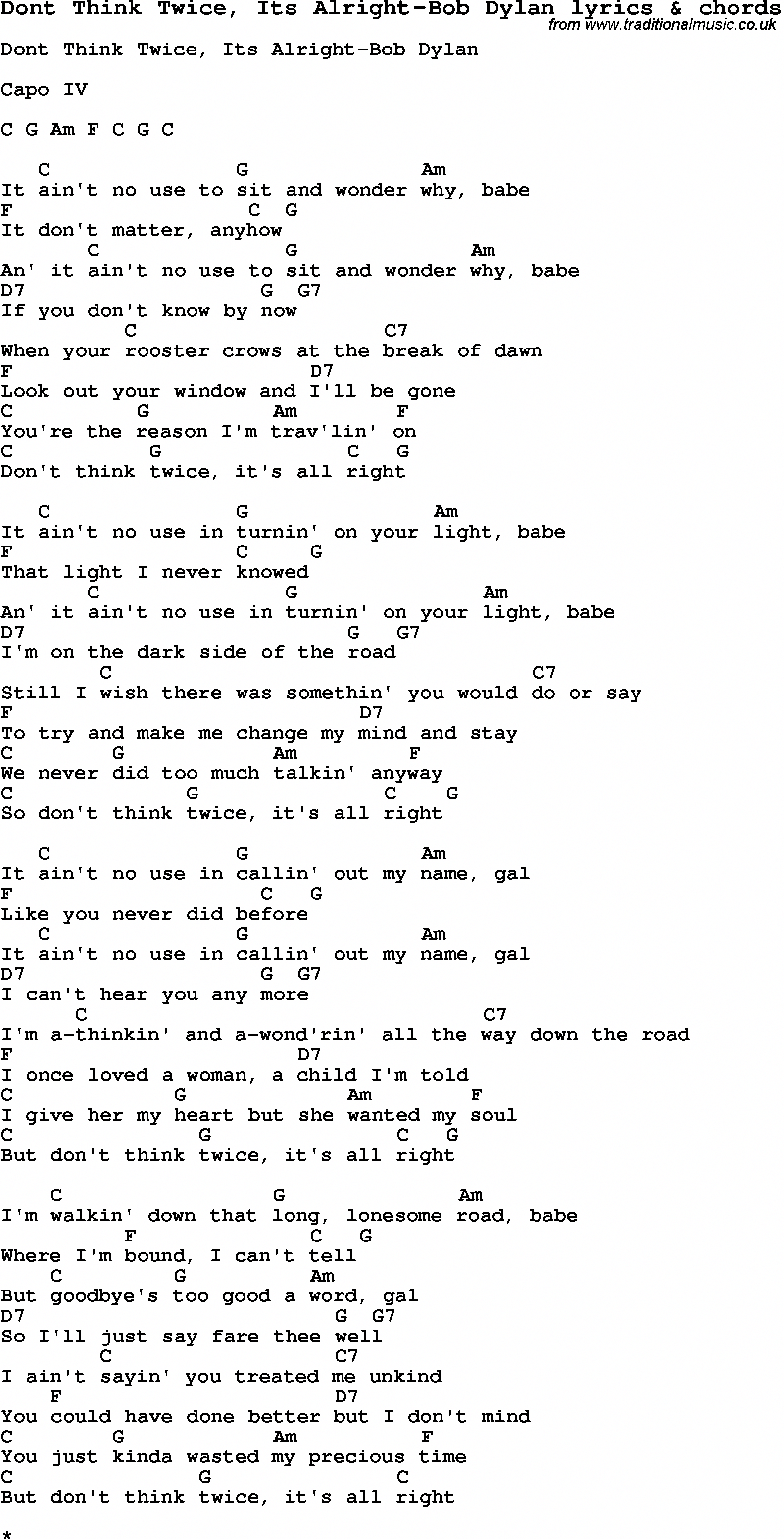 Love Song Lyrics for Dont Think Twice, Its AlrightBob