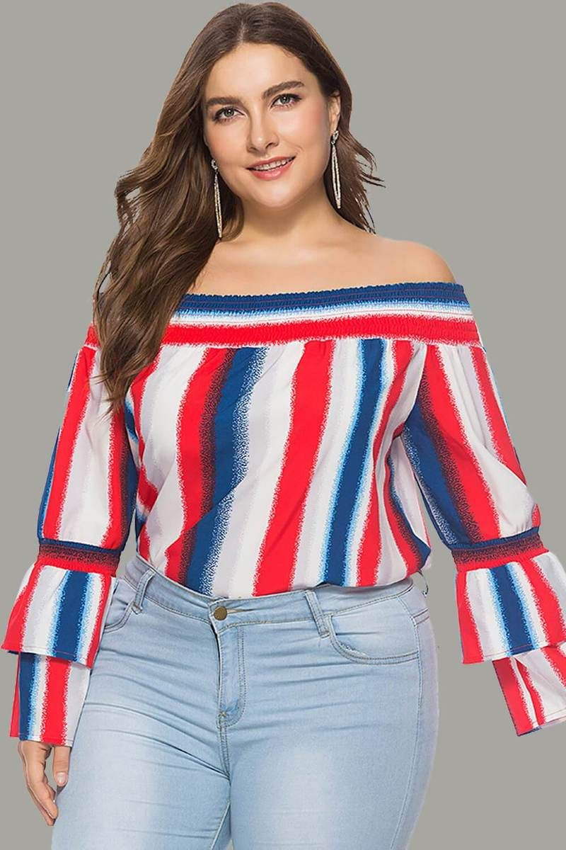 95a3e8dbaf7 Striped Off the Shoulder Hubble-bubble sleeve Tunic Blouse in 2019 ...
