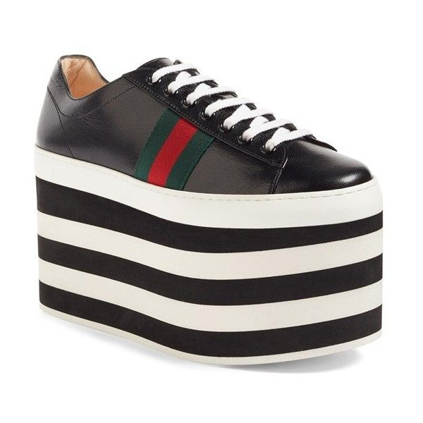 Women's Gucci Peggy Platform Sneaker ($950) ❤ liked on Polyvore featuring shoes, sneakers, black leather, gucci shoes, black laced shoes, leather sneakers, black lace up shoes and rainbow shoes