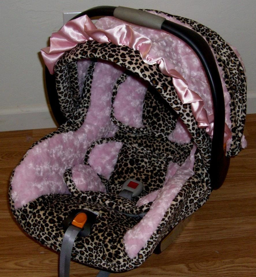 Cheetah with light pink minky swirl Infant replacement Car seat ...