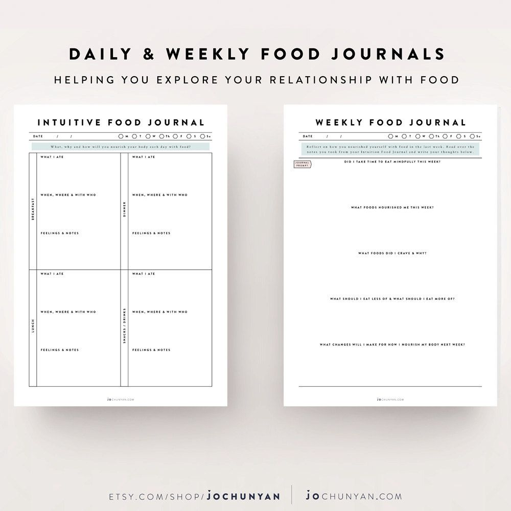 Intuitive Eating Kit / Food Journal, Food Diary, Meal Planner ...