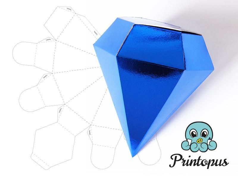 Printable Diamond Shape Box Template By Printopus Craftsy Gift Box Template Wedding Favor Box Template Gift Box Template Printable