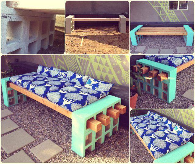 Si andabas buscando como hacer un banco para tu terraza for Bancos exteriores jardin