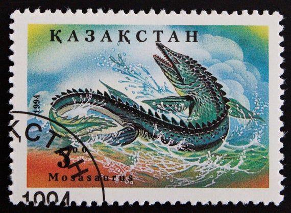 Kazakhstan Prehistoric Animals Postage Stamp Set // 1994 Used Cancelled Post Stamps // Dinosaurs // Dino // Pterosaur // Plesiosaurus // Art #prehistoricanimals