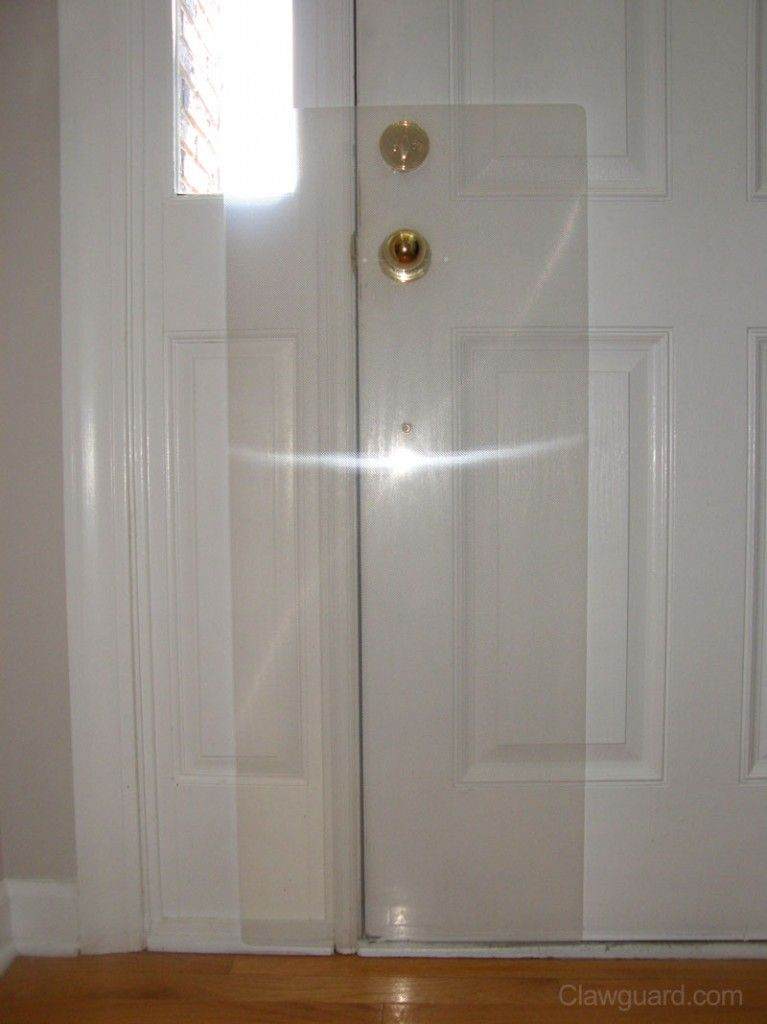 Inside Installation is the most common use of the Clawguard. It fits over most door handle and protects the door.