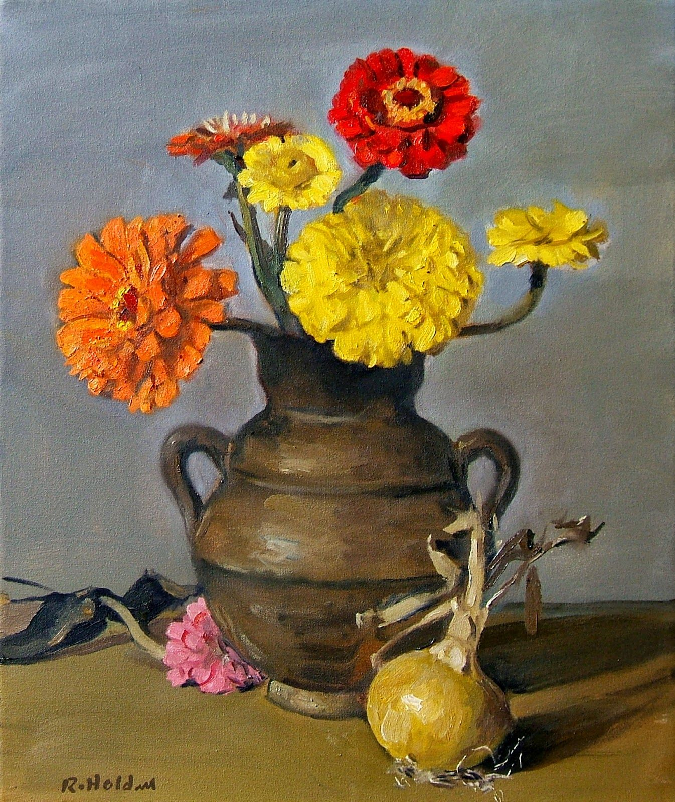 Painting Life Stories: Z is for Zinnias