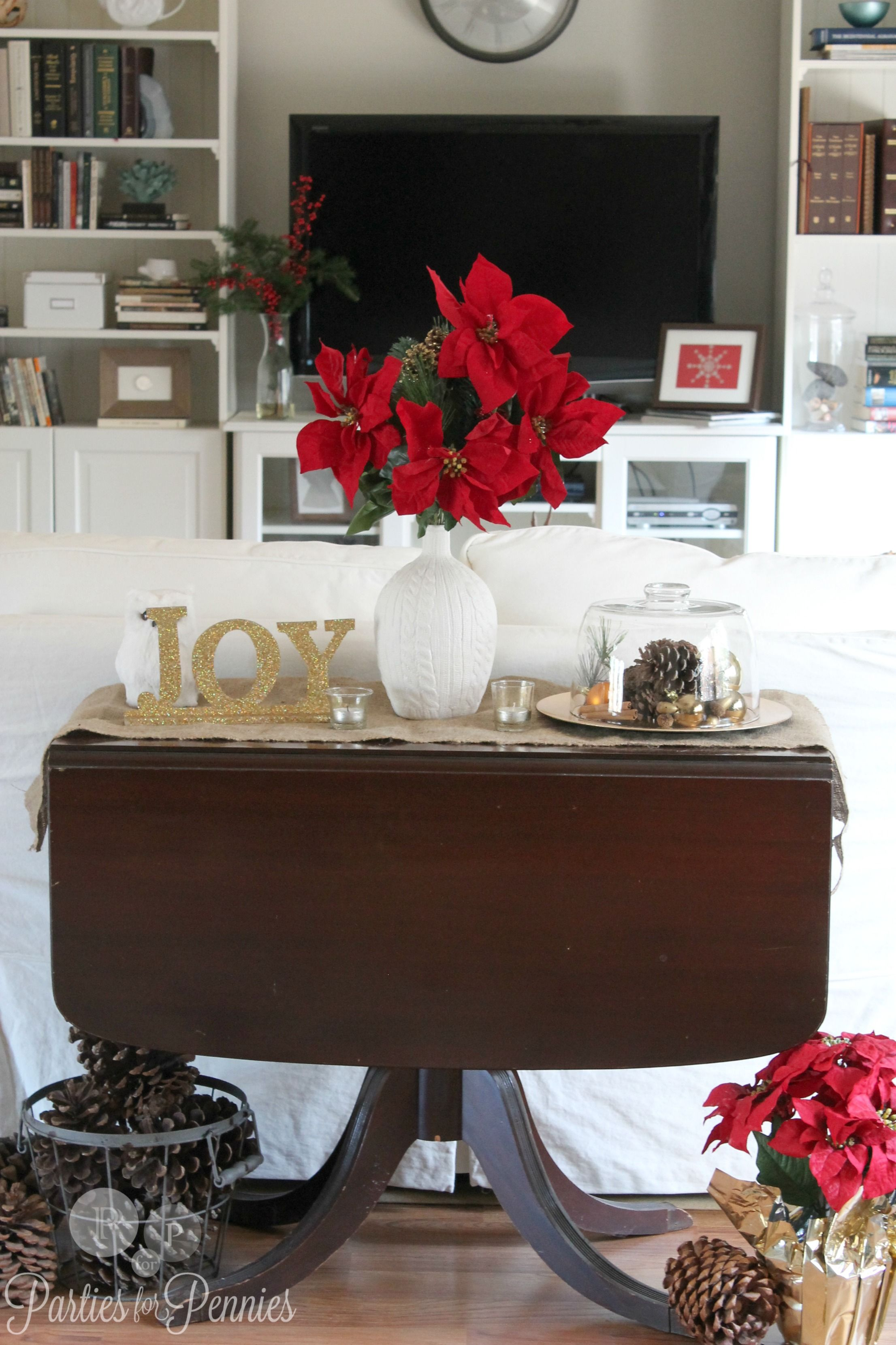 Christmas Decorating Ideas Parties For Pennies Sofa Table Decor Living Room Ornaments Console Table Decorating