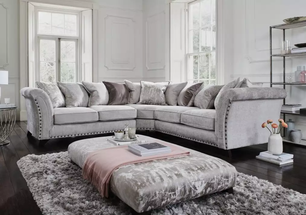 Holly Large Pillow Back Fabric Corner Sofa With Studs In 2020 Grey Corner Sofa Corner Sofa Living Room Grey Sofa Living Room