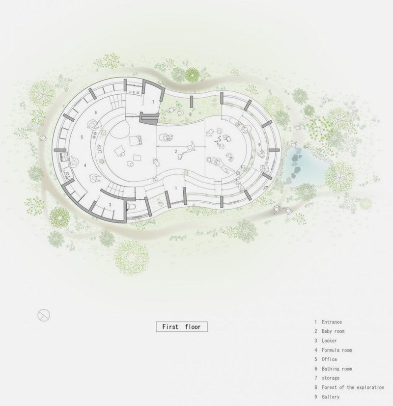 Nursery School in Peanut-like Shape Plan – Peanut Nursery ...