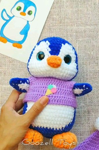 CROCHET PENGUIN PATTERN, Amigurumi penguin pattern, Stuffed penguin toy, Knitted Plush toys #stuffedtoyspatterns