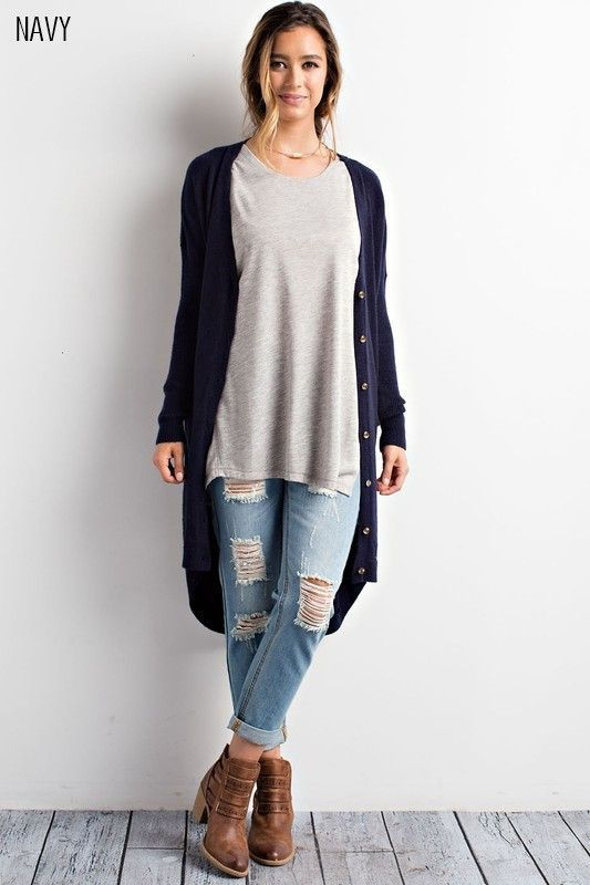 Dylan Long Pocket Cardigan In Navy | Products, Cardigans and Navy