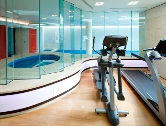 lavish home gym with a spa and swimming pool in the basement ideen heim fitnessstudio