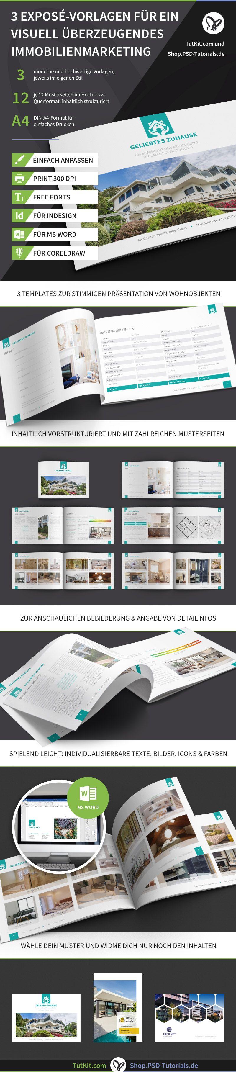 Exposé Vorlagen Für Immobilien Häuser Word Indesign Corel Powerpoint Vorlagen Immobilien Broschüre Vorlage