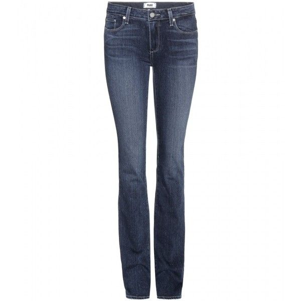 Paige Skyline Straight Jeans ($320) ❤ liked on Polyvore featuring jeans, pants, blue, blue jeans, paige denim, white jeans, paige denim jeans e straight jeans