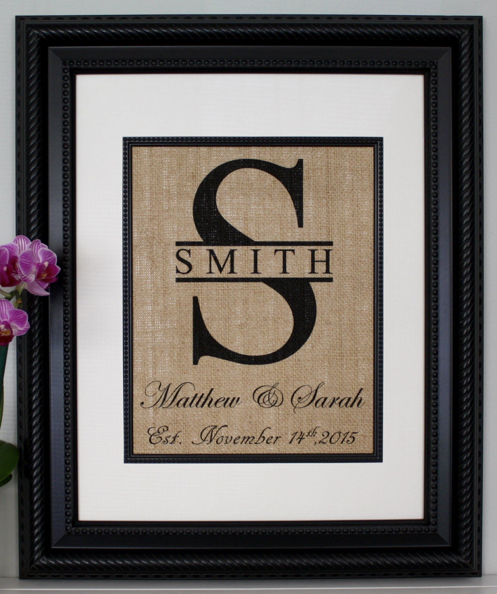 "Personalized Burlap Print, Wedding Monogram, Split Monogram, Burlap Sign with Family Name, Name of Couple, and Date Est. PRINT ONLY - frame is not included. We make these easy to frame. They are made to fit in a frame that is matted to 8""x10"" unless other size is requested. Split Monogram Wedding Print on Burlap - Personalized Makes the perfect gift for weddings, anniversaries, birthdays, etc…"