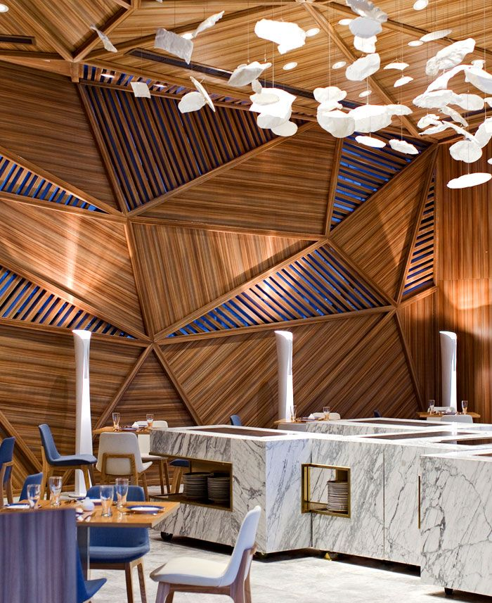 Yue Restaurant Timber Ceiling Cum Wall Panels