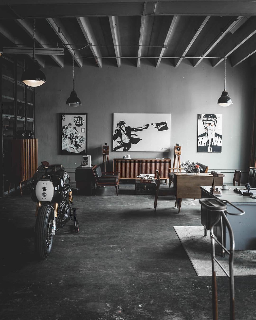 Cafe Racers And Life On Instagram Seen By Thesuitedracer Photographer Jaypegg Motorcycle Bike Cust Garage Design Interior Garage Interior Loft Design