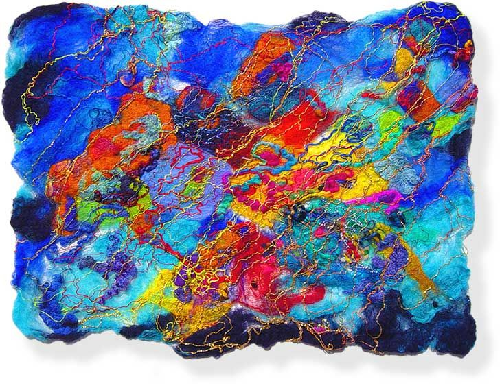 Contemporary abstract fiber art by uk textile artist and
