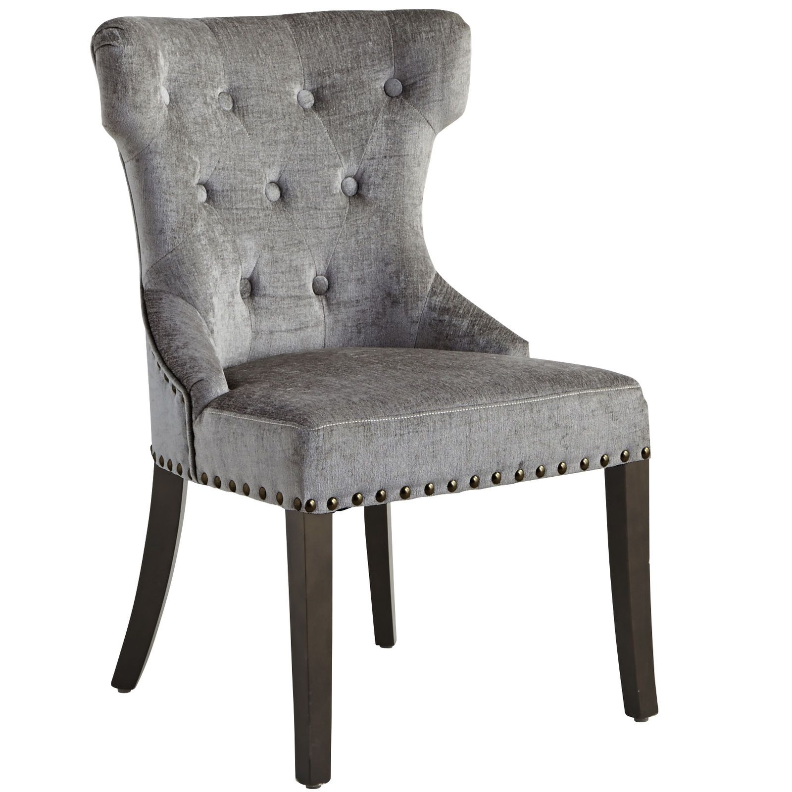 Crushed Velvet Rain Dining Chair With Espresso Wood
