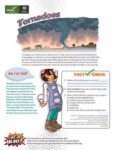 HereS A Set Of Fema Fact And Preparedness Pages On Tornadoes